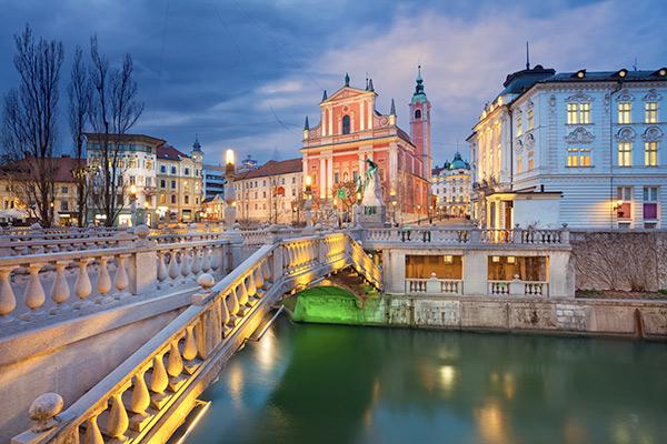 bridge over water in Ljubljana Slovenia